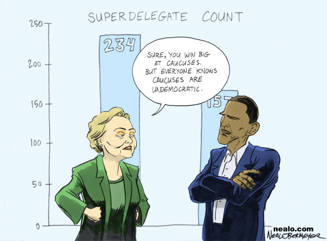 hillary clinton barack obama caucuses super delegates