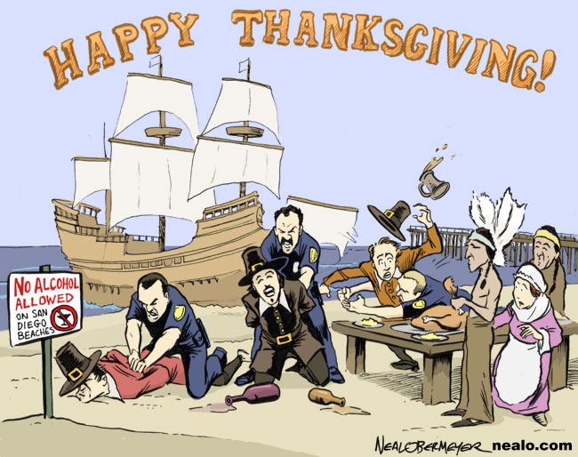 first thanksgiving pilgrims indians mayflower alcohol beach ban
