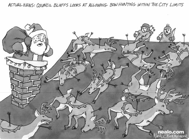 council bluffs bow hunting santa reindeer