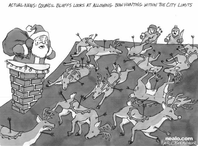 council bluffs bow hunting santa reindeer